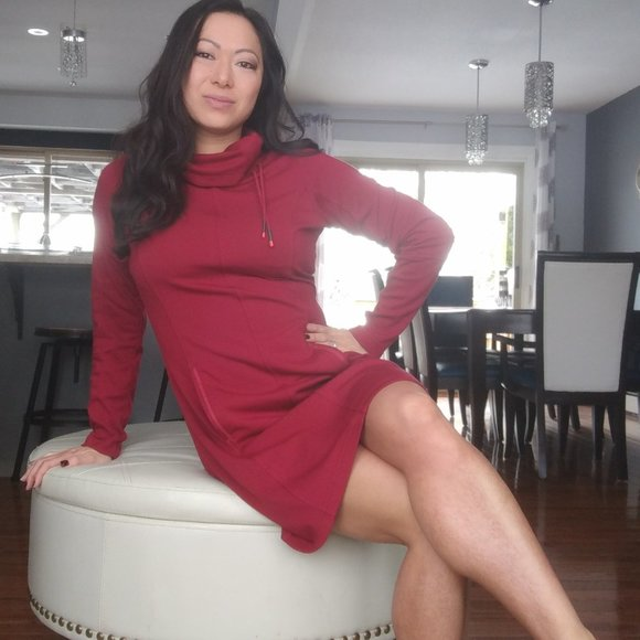LOLE Red Cowl Neck Casual Dress with Pockers
